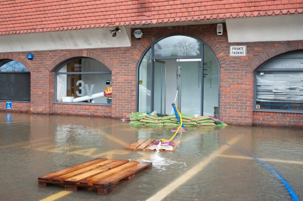 Windsor, UK - 11 February 2014: One of many local businesses flooded by the River Thames after weeks of heavy rain near Windsor, UK